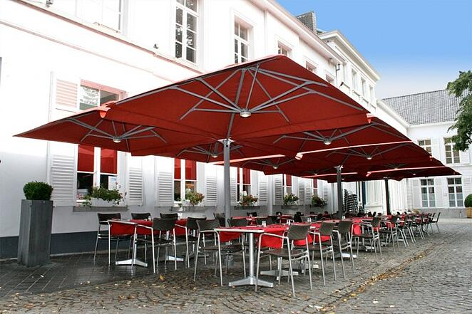 bright red multi mast cantilever outdoor umbrellas