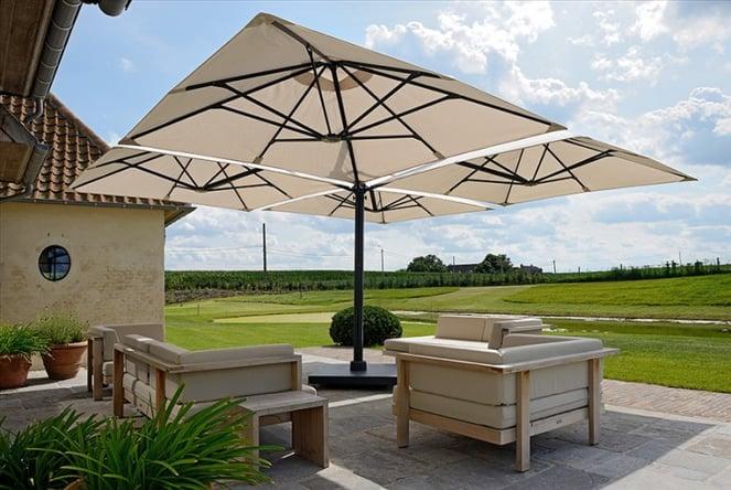 VIP area created using multi mast cantilever outdoor umbrellas