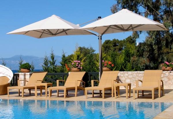 Shadowspec patio umbrella poolside